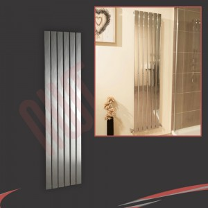 "450mm (w) x 1600mm (h) ""Luna"" Designer Chrome Vertical Flat Panel Radiator (6 Sections)"