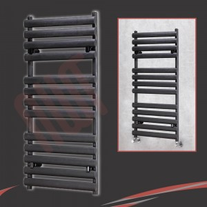 "500mm(w) x 1200mm(h) ""Brecon"" Black Oval Tube Towel Rail"