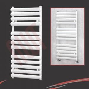 500mm(w) x 1200mm(h) Brecon White Oval Tube Towel Rail