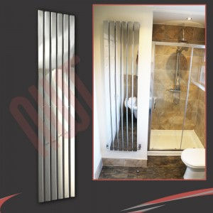 "440mm (w) x 1850mm (h) ""Corwen"" Chrome Flat Panel Vertical Radiator (6 Sections)"