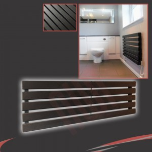 "1250mm (w) x 360mm (h) ""Corwen"" Black Flat Panel Horizontal Radiator (5 Sections)"