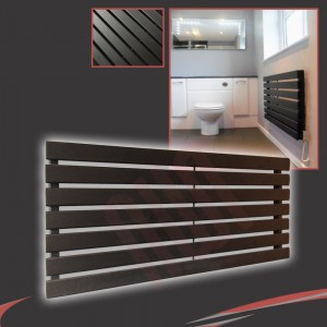 "1250mm (w) x 516mm (h) ""Corwen"" Black Flat Panel Horizontal Radiator (7 Sections)"