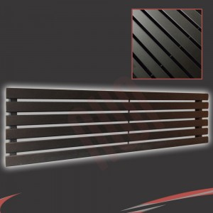 "1850mm (w) x 440mm (h) ""Corwen"" Black Flat Panel Horizontal Radiator (6 Sections)"