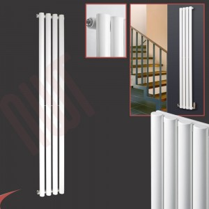 280mm (w) x 1800mm (h) Brecon White Oval Tube Vertical Radiator