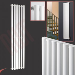 420mm (w) x 1800mm (h) Brecon White Oval Tube Vertical Radiator