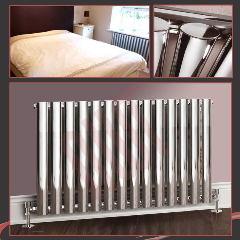 960mm (w) x 500mm (h) Brecon Chrome Oval Tube Horizontal Radiator