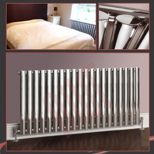 1380mm (w) x 500mm (h) Brecon Chrome Oval Tube Horizontal Radiator