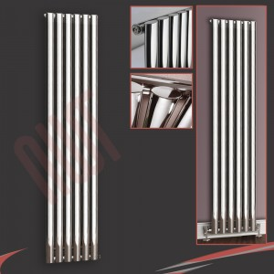 "420mm (w) x 1800mm (h) ""Brecon"" Chrome Oval Tube Vertical Radiator (6 Sections)"