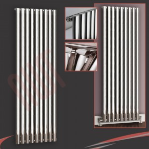 "630mm (w) x 1800mm (h) ""Brecon"" Chrome Oval Tube Vertical Radiator (9 Sections)"