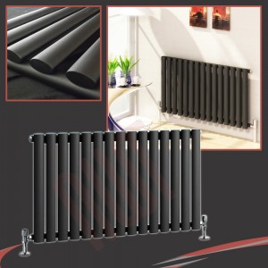 "960mm (w) x 500mm (h) ""Brecon"" Black Oval Tube Horizontal Radiator (15 Sections)"