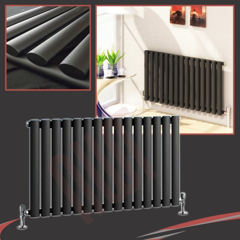 960mm (w) x 500mm (h) Brecon Black Horizontal Radiator