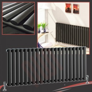"1380mm (w) x 500mm (h) ""Brecon"" Black Oval Tube Horizontal Radiator (21 Sections)"