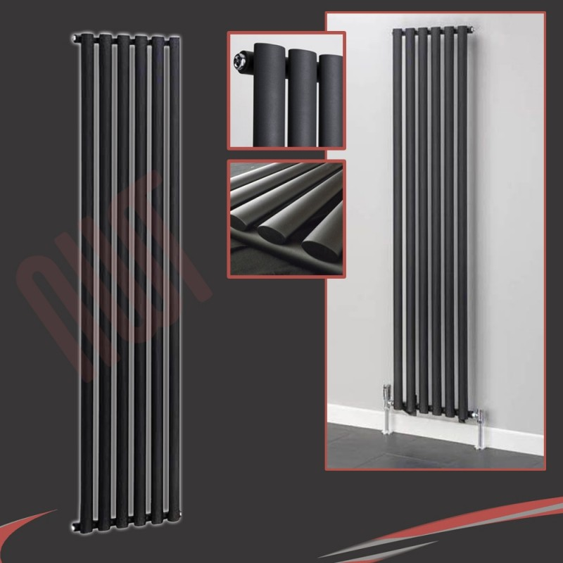 420mm (w) x 1800mm (h) Brecon Black Vertical Radiator