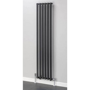 420mm (w) x 1800mm (h) Brecon Black Oval Tube Vertical Radiator (6 Sections)