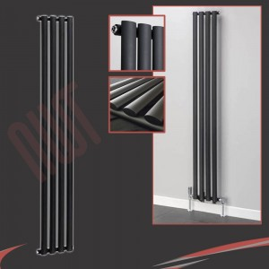 280mm (w) x 1800mm (h) Brecon Black Oval Tube Vertical Radiator (4 Sections)