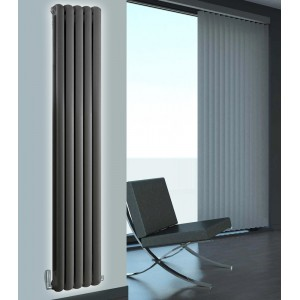 318mm (w) x 1800mm (h) Elias Anthracite Vertical Column Radiator (5 Sections)