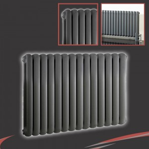 "853mm (w) x 600mm (h) ""Elias"" Anthracite Horizontal Column Radiator (14 Sections)"