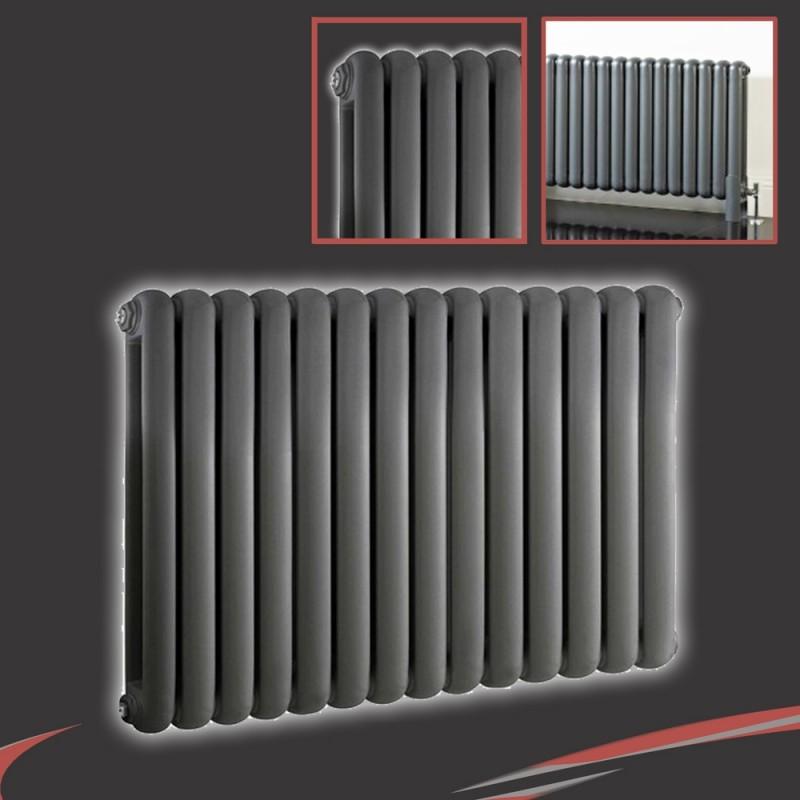 853mm (h) x 600mm (w) Elias Anthracite Horizontal Column Radiator (14 Sections)