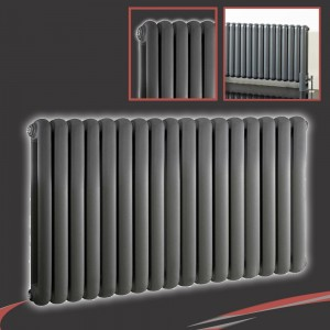 "1032mm (w) x 600mm (h) ""Elias"" Anthracite Horizontal Column Radiator (17 Sections)"