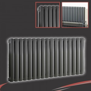 1032mm (w) x 400mm (h) Elias Anthracite Horizontal Column Radiator (17 Sections)