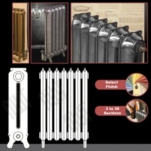 """The """"Mulberry"""" 2 Column 750mm (H) Traditional Victorian Cast Iron Radiator (3 to 30 Sections Wide) - Choose your Finish"""
