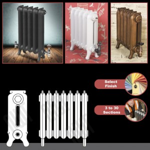 """The """"Mulberry"""" 2 Column 450mm (H) Traditional Victorian Cast Iron Radiator (3 to 30 Sections Wide) - Choose your Finish"""