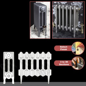 """The """"Gladstone"""" 3 Column 450mm (H) Traditional Victorian Cast Iron Radiator (3 to 30 Sections Wide) - Choose your Finish"""
