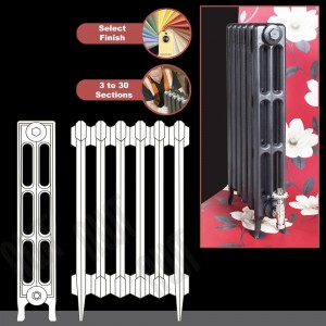 """The """"Gladstone"""" 3 Column 745mm (H) Traditional Victorian Cast Iron Radiator (3 to 30 Sections Wide)"""