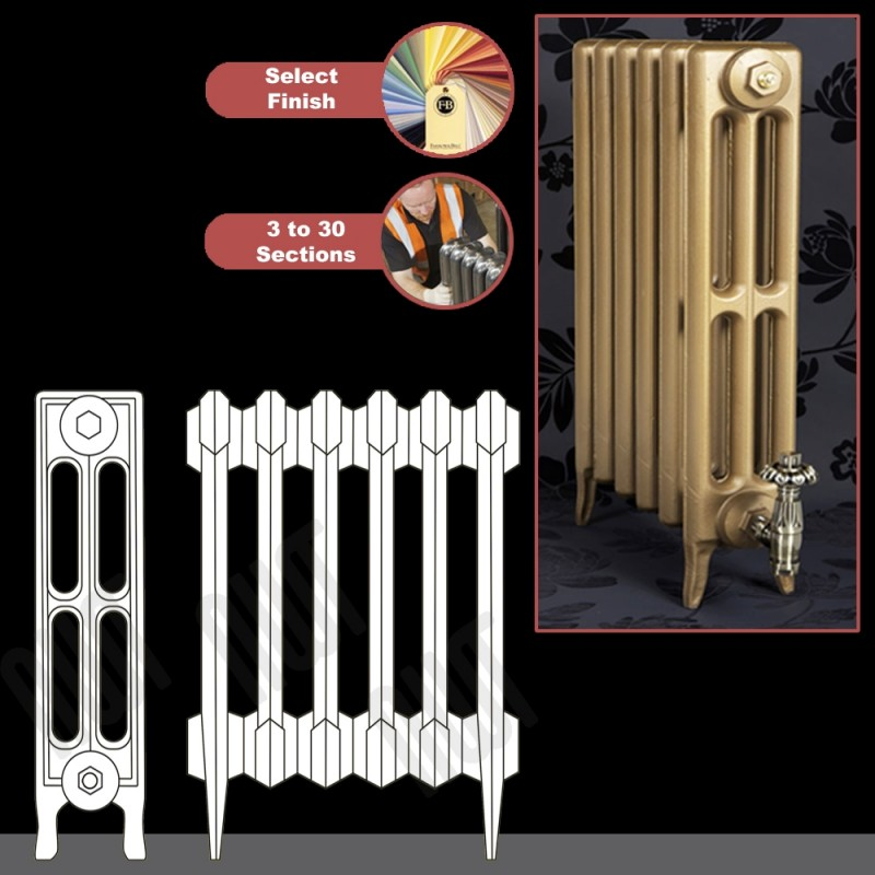 """The """"Gladstone"""" 3 Column 645mm (H) Traditional Victorian Cast Iron Radiator (3 to 30 Sections Wide)"""