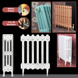 """The """"Gladstone"""" 4 Column 660mm (H) Traditional Victorian Cast Iron Radiator (3 to 30 Sections Wide) - Choose your Finish"""