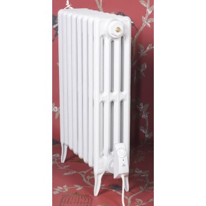 """The """"Gladstone"""" 4 Column 660mm (H) Traditional Victorian Cast Iron Radiator - All White"""