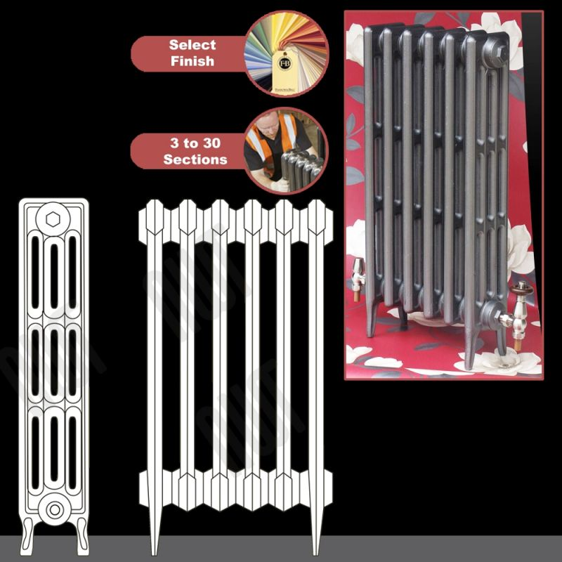 760mm h gladstone 4 column traditional cast iron radiators for The gladstone