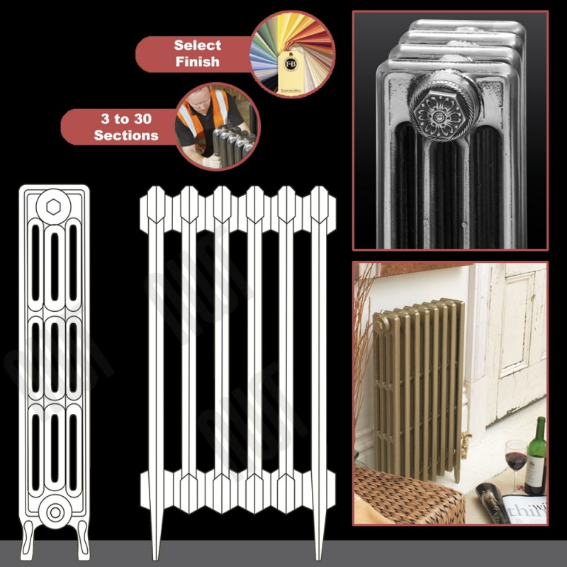 "The ""Gladstone"" 4 Column 813mm (H) Traditional Victorian Cast Iron Radiator (3 to 30 Sections Wide)"
