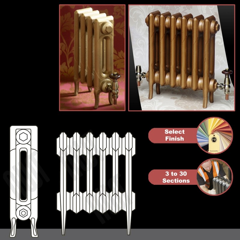 """The """"Victoria"""" 2 Column 460mm (H) Traditional Victorian Cast Iron Radiator (3 to 30 Sections Wide)"""