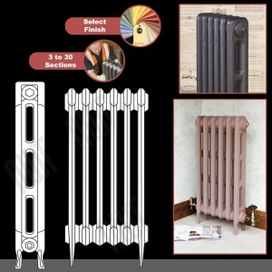 """The """"Victoria"""" 2 Column 760mm (H) Traditional Victorian Cast Iron Radiator (3 to 30 Sections Wide) - Choose your Finish"""