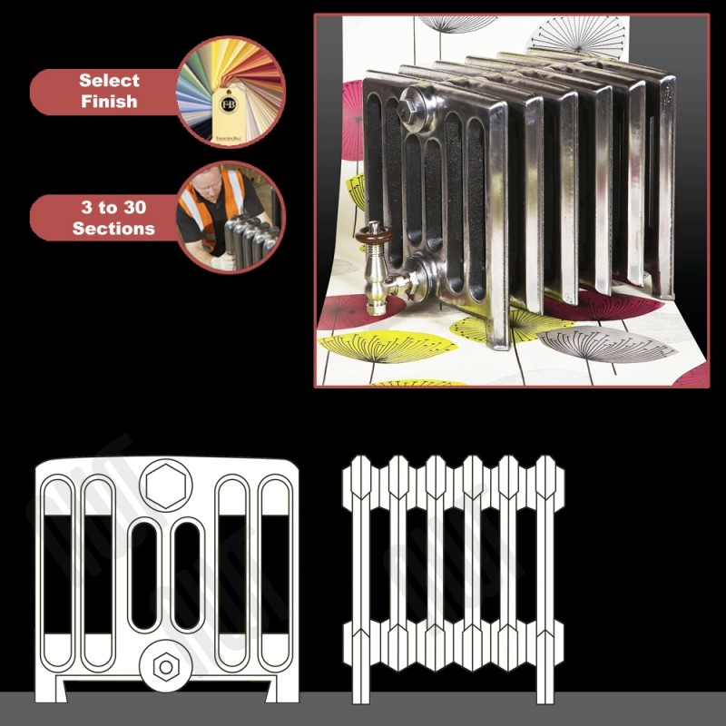 """The """"Broadway"""" 7 Column 350mm (H) Traditional Victorian Cast Iron Radiator (3 to 30 Sections Wide) - Choose your Finish"""