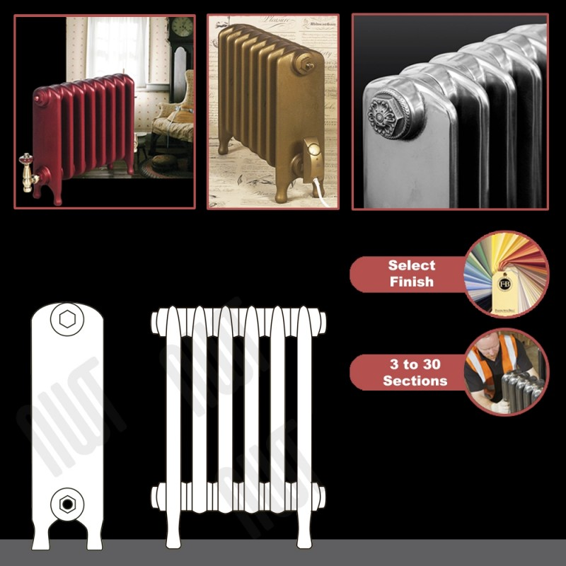 "The ""Embassy"" 2 Column 440mm (H) Traditional Victorian Cast Iron Radiator (3 to 30 Sections Wide) - Choose your Finish"