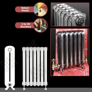 "The ""Neville"" 2 Column 570mm (H) Traditional Victorian Cast Iron Radiator (3 to 30 Sections Wide) - Choose your Finish"