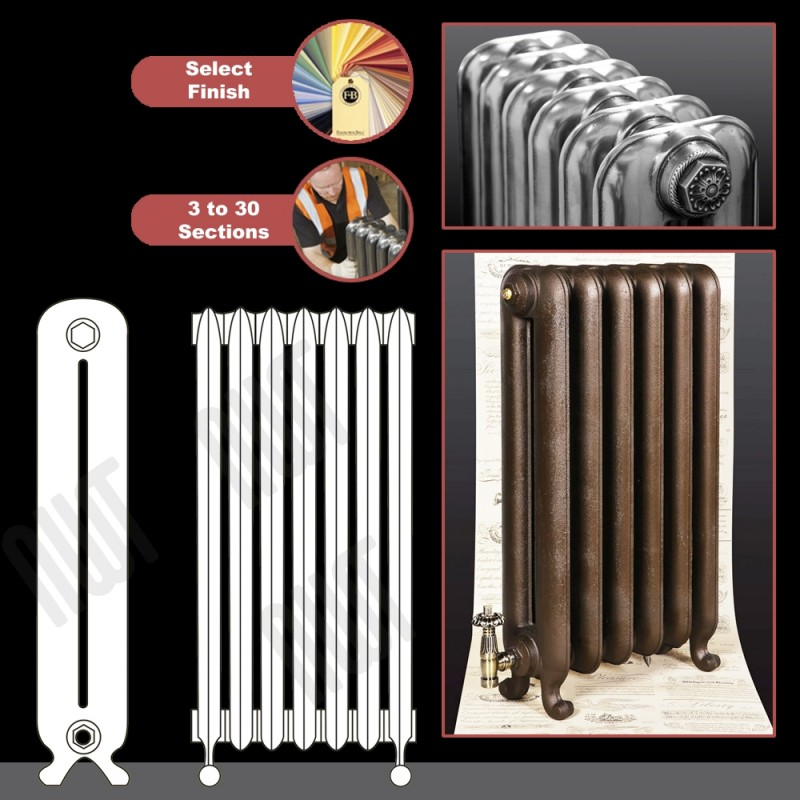 """The """"Neville"""" 2 Column 740mm (H) Traditional Victorian Cast Iron Radiator (3 to 30 Sections Wide) - Choose your Finish"""