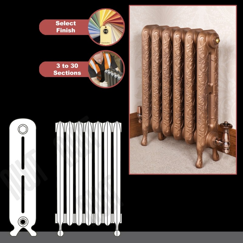 "The ""Kingston"" 2 Column 580mm (H) Traditional Victorian Cast Iron Radiator"