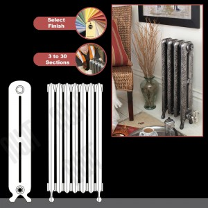 "The ""Kingston"" 2 Column 750mm (H) Traditional Victorian Cast Iron Radiator (3 to 30 Sections Wide) - Choose your Finish"