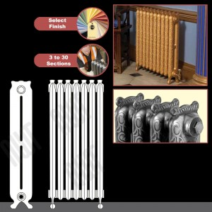 "The ""Kingston"" 2 Column 780mm (H) Traditional Victorian Cast Iron Radiator (3 to 30 Sections Wide) - Choose your Finish"