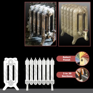 "The ""Charlestone"" 470mm (H) 3 Column Traditional Victorian Cast Iron Radiator (3 to 30 Sections Wide) - Choose your Finish"