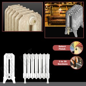 """The """"Marlborough"""" 2 Column 460mm (H) Traditional Victorian Cast Iron Radiator (3 to 30 Sections Wide) - Choose your Finish"""