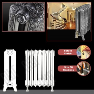 "The ""Marlborough"" 2 Column 660mm (H) Traditional Victorian Cast Iron Radiator (3 to 30 Sections Wide) - Choose your Finish"