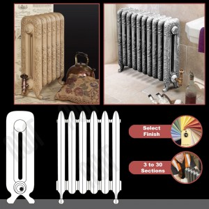 """The """"Albion"""" 2 Column 590mm (H) Traditional Victorian Cast Iron Radiator (3 to 30 Sections Wide) - Choose your Finish"""