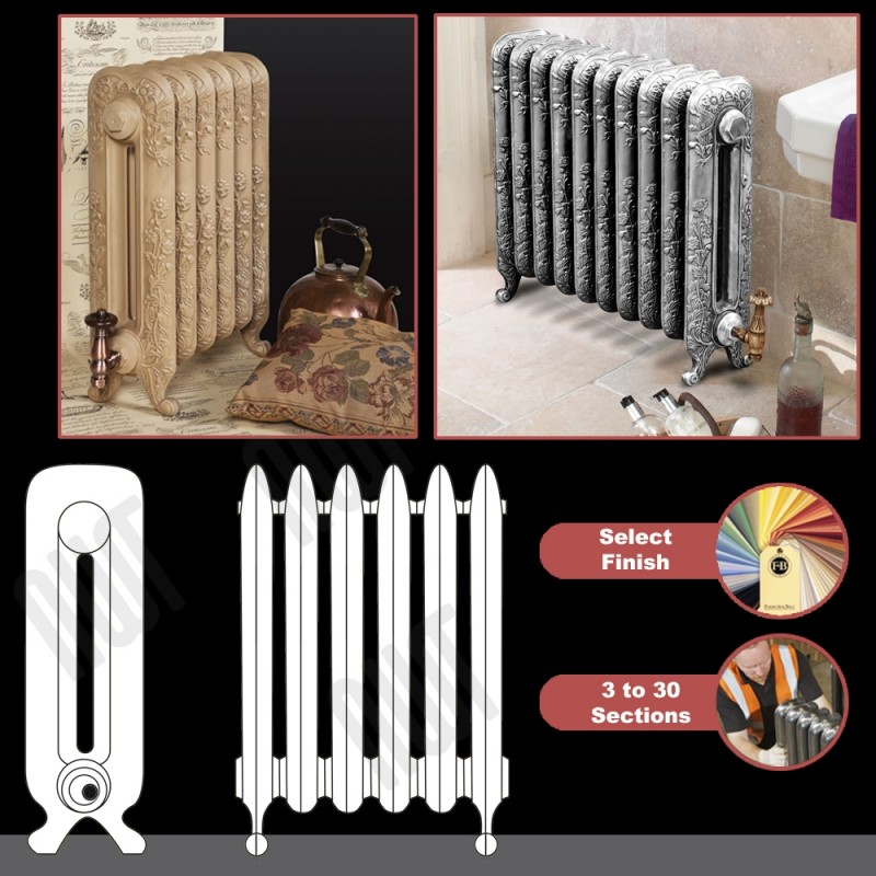 "The ""Albion"" 2 Column 590mm (H) Traditional Victorian Cast Iron Radiator -"