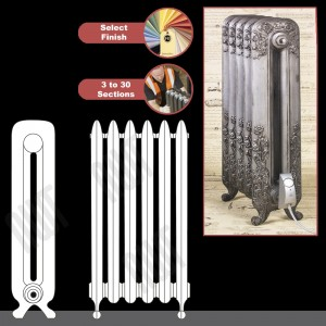 """The """"Albion"""" 2 Column 790mm (H) Traditional Victorian Cast Iron Radiator (3 to 30 Sections Wide) - Choose your Finish"""