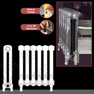 """The """"Regal"""" 2 Column 540mm (H) Traditional Victorian Cast Iron Radiator (3 to 30 Sections Wide) - Choose your Finish"""