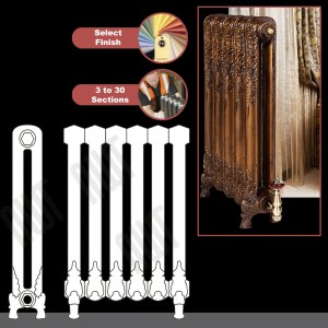 """The """"Regal"""" 2 Column 740mm (H) Traditional Victorian Cast Iron Radiator (3 to 30 Sections Wide) - Choose your Finish"""